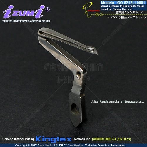 GO-5212LL0001 Gancho Inferior P/Máquina De Coser Industrial Kingtex Overlock UH8000.UH9000 3,4,5,6 Hilos