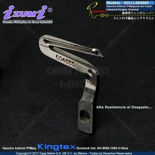 GO-LL604885 Gancho Inferior P/Máquina De Coser Industrial Kingtex Overlock SH-6094 SH7094 4 Hilos