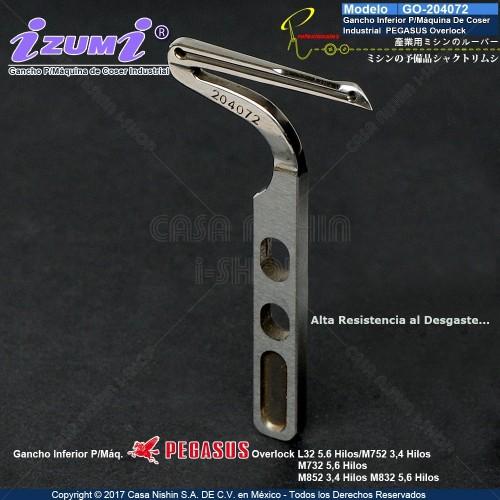 GO-204072 Gancho Inferior P/Máquina De Coser Industrial Pegasus Overlock L32,M752,M732,M852,M832