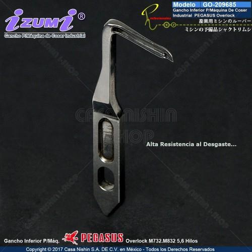 GO-209685 Gancho Seguridad P/Máquina De Coser Industrial Pegasus Overlock M732,M832 5,6 Hilos