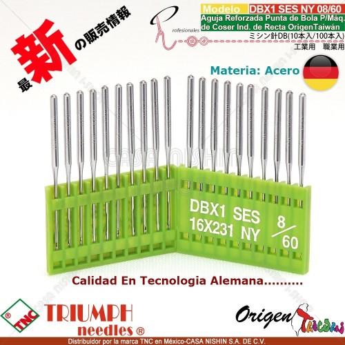 DBX1/16X231 SES/NY Aguja Reforzada Punta de Bola P/Máq. de Coser Ind. de Recta Origen Taiwán
