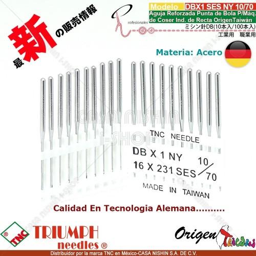 DBX1/16X231 SES/NY 10/70 Aguja Reforzada Punta de Bola P/Máq. de Coser Ind. de Recta Origen Taiwán