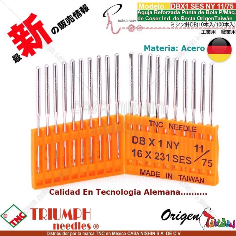 DBX1/16X231 SES/NY 11/75 Aguja Reforzada Punta de Bola P/Máq. de Coser Ind. de Recta Origen Taiwán