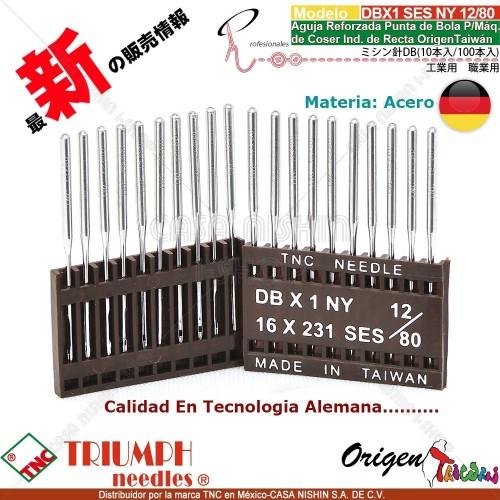 DBX1/16X231 SES/NY 12/80 Aguja Reforzada Punta de Bola P/Máq. de Coser Ind. de Recta Origen Taiwán