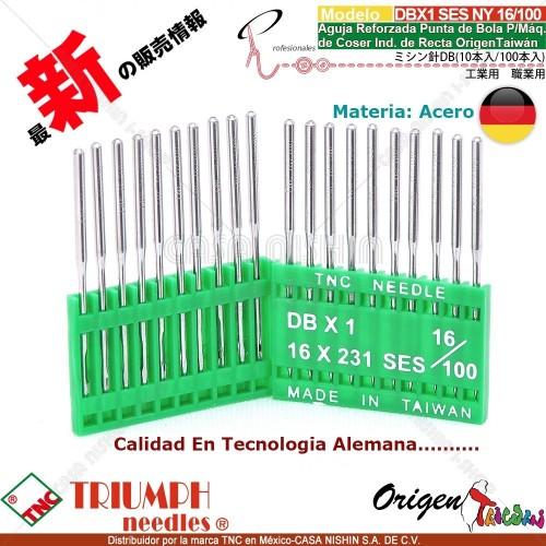 DBX1/16X231 SES/NY 16/100 Aguja Reforzada Punta de Bola P/Máq. de Coser Ind. de Recta Origen Taiwán