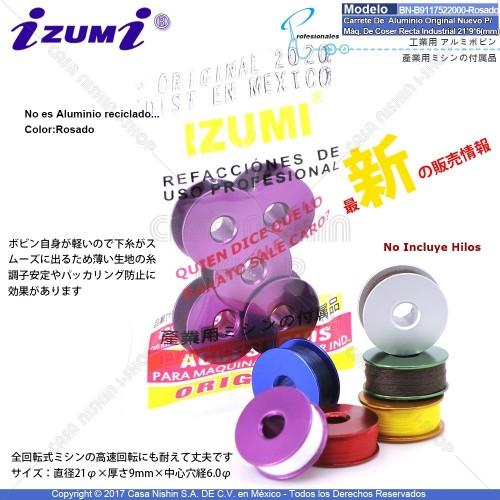 BN-B9117-522-000 Carrete De Aluminio Original Nuevo Color:Rosado Para Máquina De Coser Recta Industrial 21*9*6(mm)