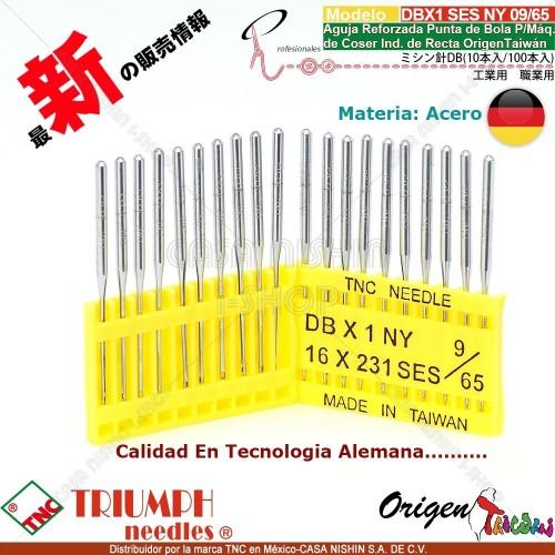 DBX1/16X231 SES/NY 09/65 Aguja Reforzada Punta de Bola P/Máq. de Coser Ind. de Recta Origen Taiwán