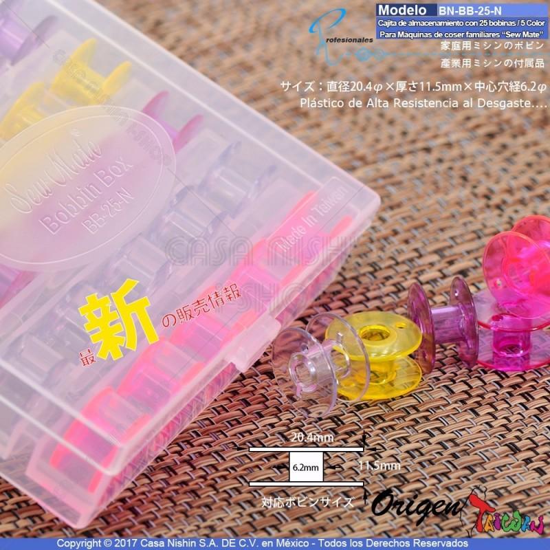 BN-BB-25-N Cajita de almacenamiento con 25 bobinas de Plástico vacías/5 Color para Máquinas de coser familiares