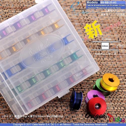 BN-BB-25-A5 Cajita de almacenamiento con 25 carretes de Aluminio vacías/5 Color para Máquinas de coser Industrial Recta