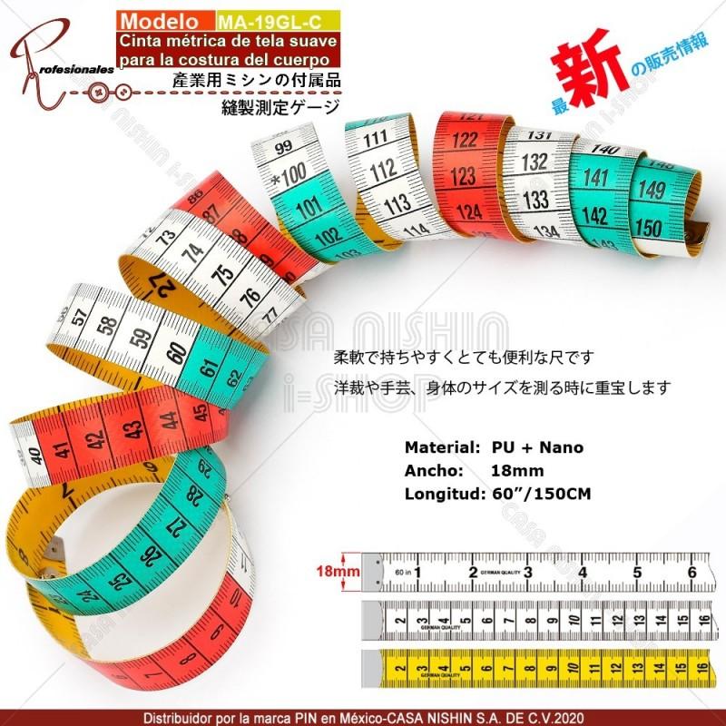 MA-19GL-C Cinta métrica de tela suave para la costura del cuerpo Anchora:18mm