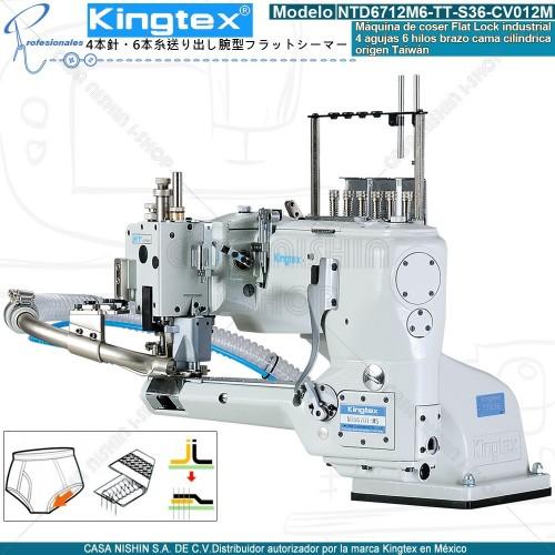 NTD6712M6-TT-S36-CV012M Máquina de coser industrial Flatlock 4 agujas 6 hilos marca Kingtex