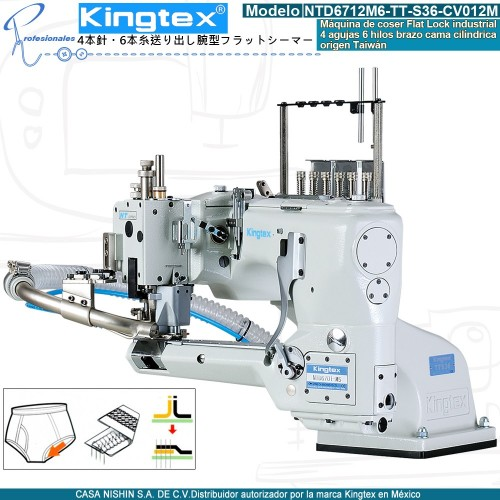 NTD6712M6-TT-S36-CV012M Máquina de coser industrial Flatlock 4 agujas 6 hiols marca Kingtex
