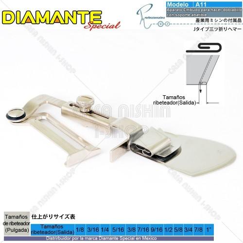AO-A11 Aparato Embudo p/hacer dobladillo con soporte abatible industrial