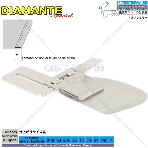 AO-A75U Aparato Embudo para doblar tejido hacia arriba p/Máquina de coser Recta Industrial