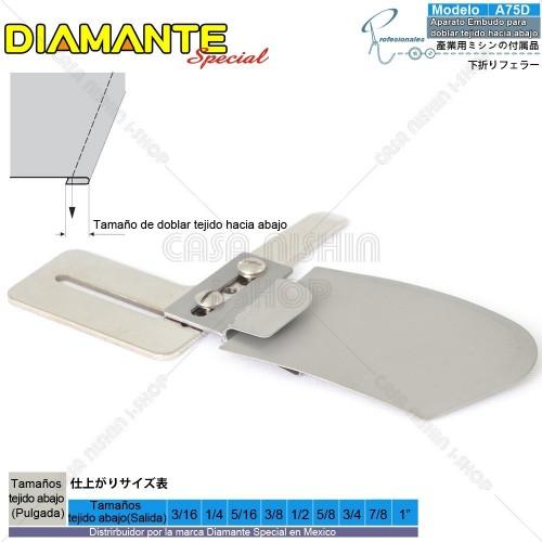 AO-A75D Aparato Embudo para doblar tejido hacia abajo p/Máquina de coser Recta Industrial