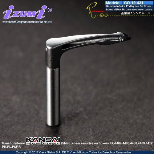 19-431 Gancho Inferior P/Máquina De Coser  Industrial KANSAI coser resortes en boxers