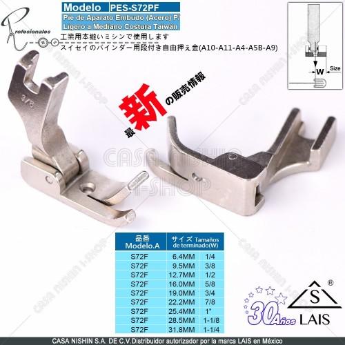 S72PF Pie de Aparato Embudo Acero p/Máquina de coser Recta Industrial Original