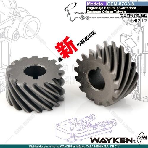GEM-87C3-8 Engranaje Espiral P/Cortadora Tipo Eastman marca WAYKEN