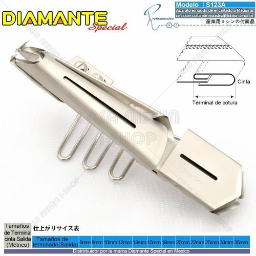 AO-S123A Aparato embudo de encintado p/Máquina de coser collarete industrial(Doblez sencillo)