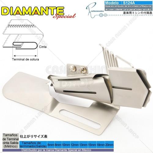 AO-S124A Aparato embudo de encintado p/Máquina de coser collarete Cama Plana industrial(Doblez sencillo)