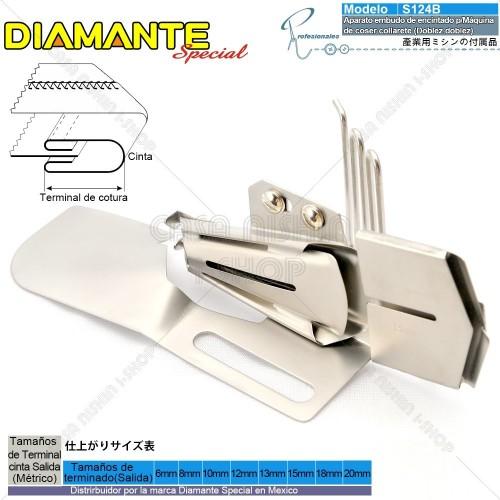 AO-S124B Aparato embudo de encintado p/Máquina de coser collarete Cama Plana industrial(Doblez doblez)