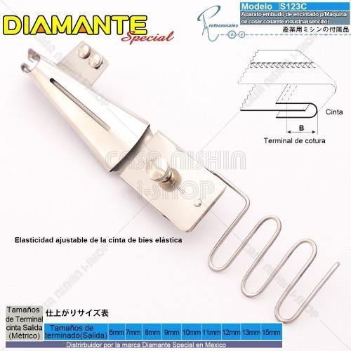 AO-S123C Aparato embudo de encintado p/Bies p/Máquina de coser collarete industrial(sencillo)