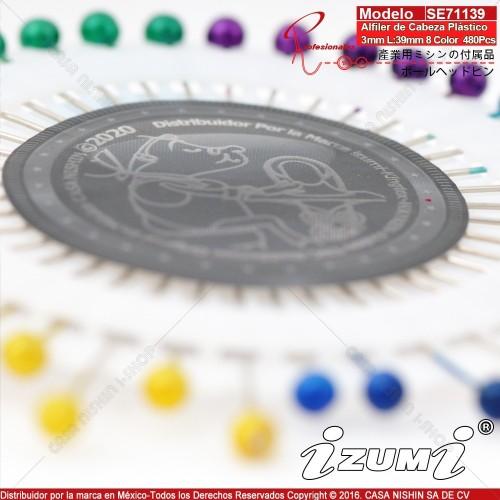 SE71139 Alfiler de Cabeza Plástico 3mm L:39mm 8 Color 480Pcs