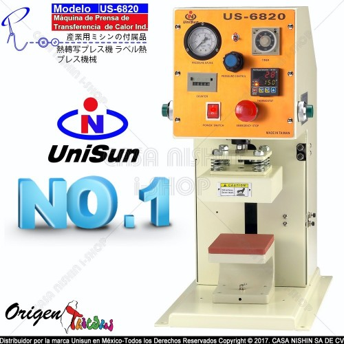 US-6802 Máquina de Prensa de Transferencia de Calor Industrial 127V-600W Taiwán